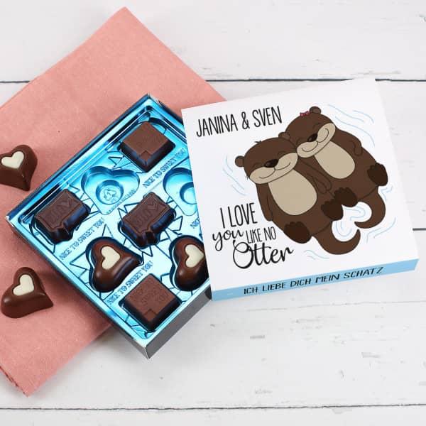 Lindt Pralinen ''I love you like no Otter'' mit Namen und Wunschtext