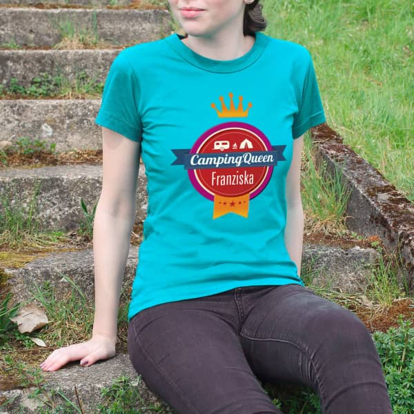 Camping Queen Damen T Shirt mit Name