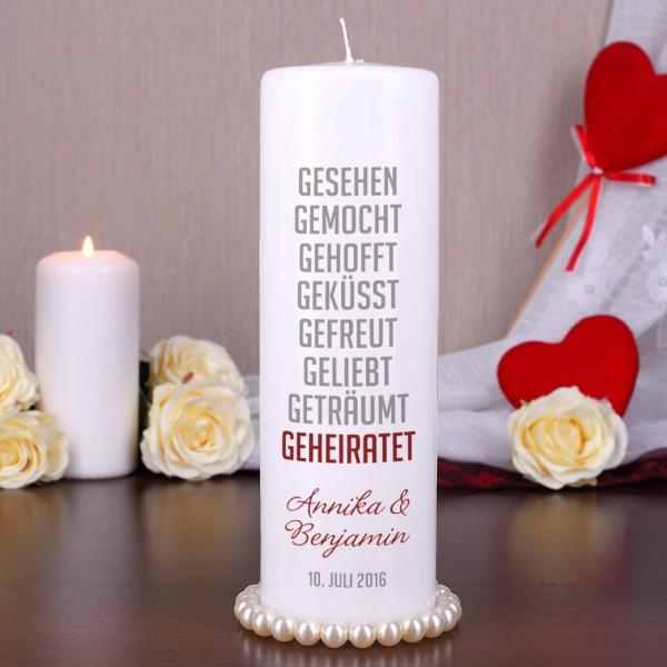 Hochzeitskerze mit kurzer Lovestory, Namen und Datum
