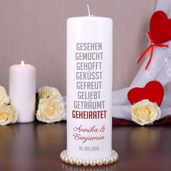 Hochzeit Kerze Lovestory Namen Datum