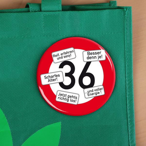 XXL Button zum 36. Geburtstag