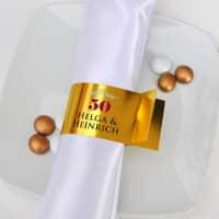 6 persönliche Serviettenringe zur Goldenen Hochzeit