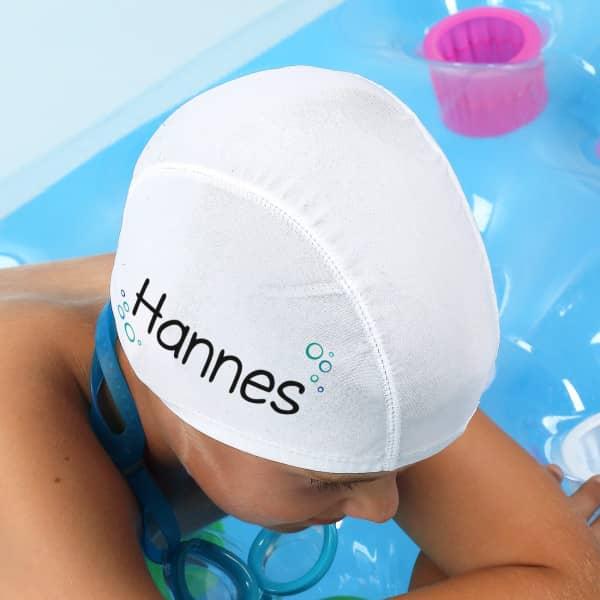 persönliche Kinderbadekappe mit Ihrem Wunschnamen