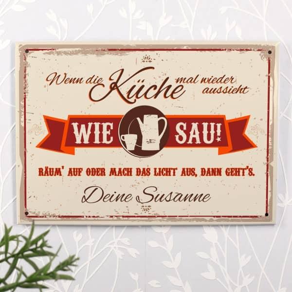 Blechschild mit lustigem Text für Ihre Küche