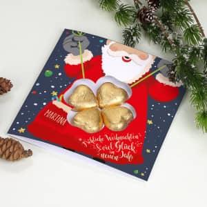 Grußkarte zu Weihnachten mit Schokolade