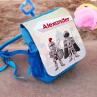 personalisierter Kinderrucksack blau mit niedlichem Ritter