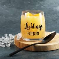 Lieblings Trinkglas mit Ihrem Wunschtext bedruckt