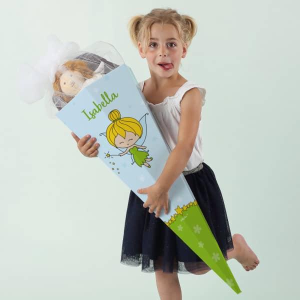 Schultüte für Mädchen mit kleiner Fee und Wunschname