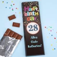 Riesige Schokolade -Happy Birthday- mit langem Glückwunschtext