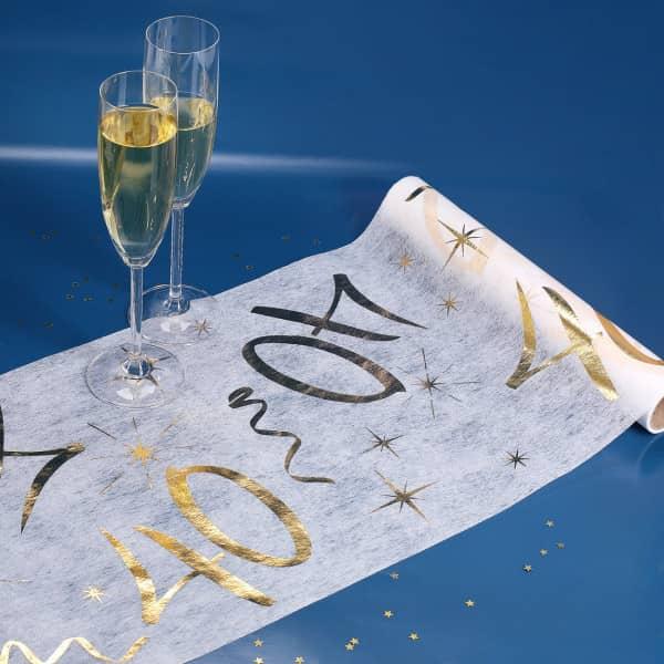 Vlies-Tischläufer zum 40. Geburtstag in weiß und gold