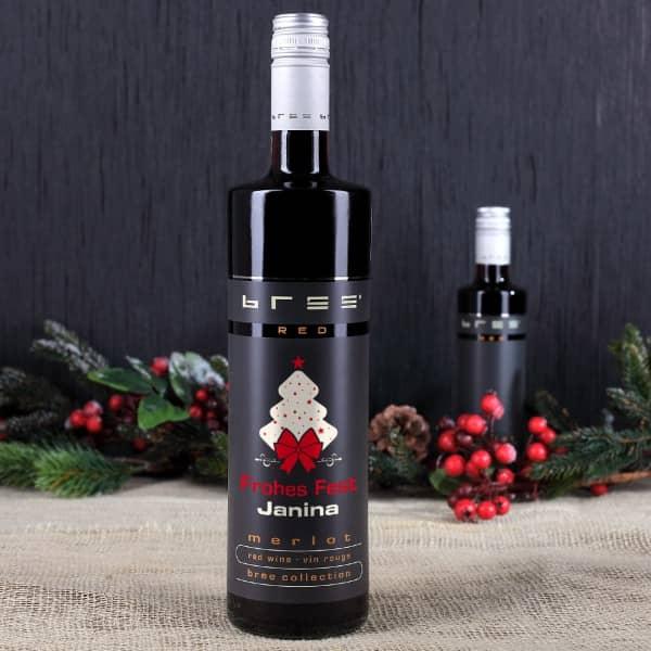 Merlot Rotweinflasche mit Namensaufdruck zum Fest