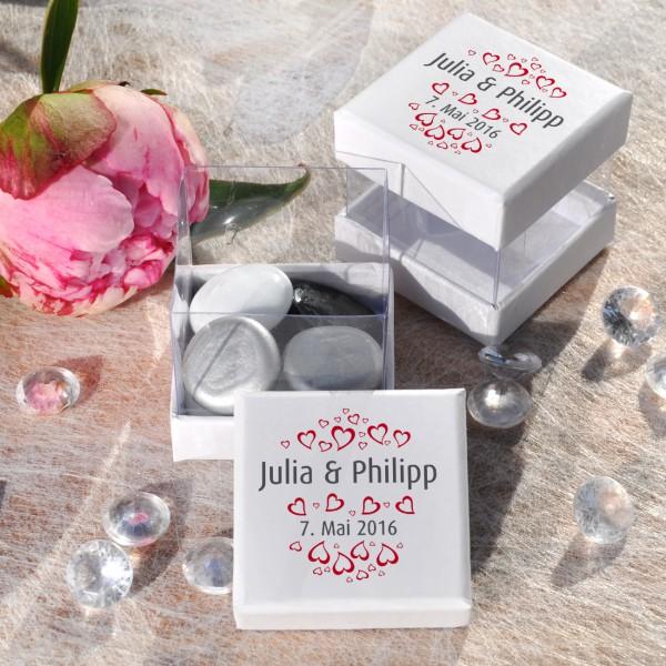 Gastgeschenk-Box zur Hochzeit, 6 St. in weiß