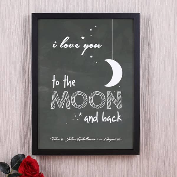 Bilderrahmen i love you to the moon and back mit Wunschtext