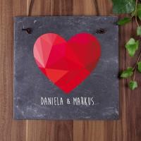 persönliche Schieferplatte zur Hochzeit mit polygonalem Herz und Ihren Namen