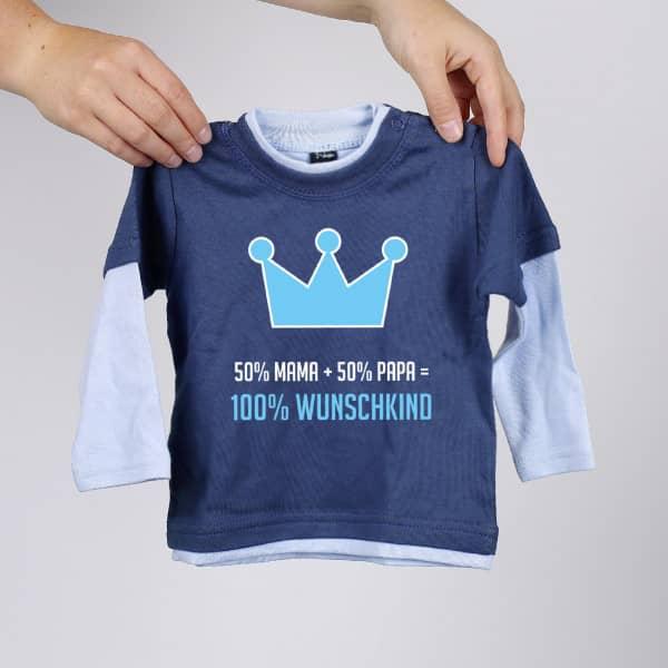 Blaues Langarmshirt 100 Wunschkind