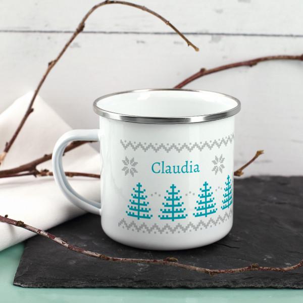Weihnachtliche Tasse im Norweger-Muster