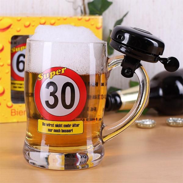 Bierkrug zum 30. Geburtstag mit Klingel