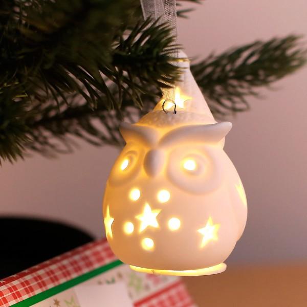 Keramik Weihnachtseule LED mit großer Mütze