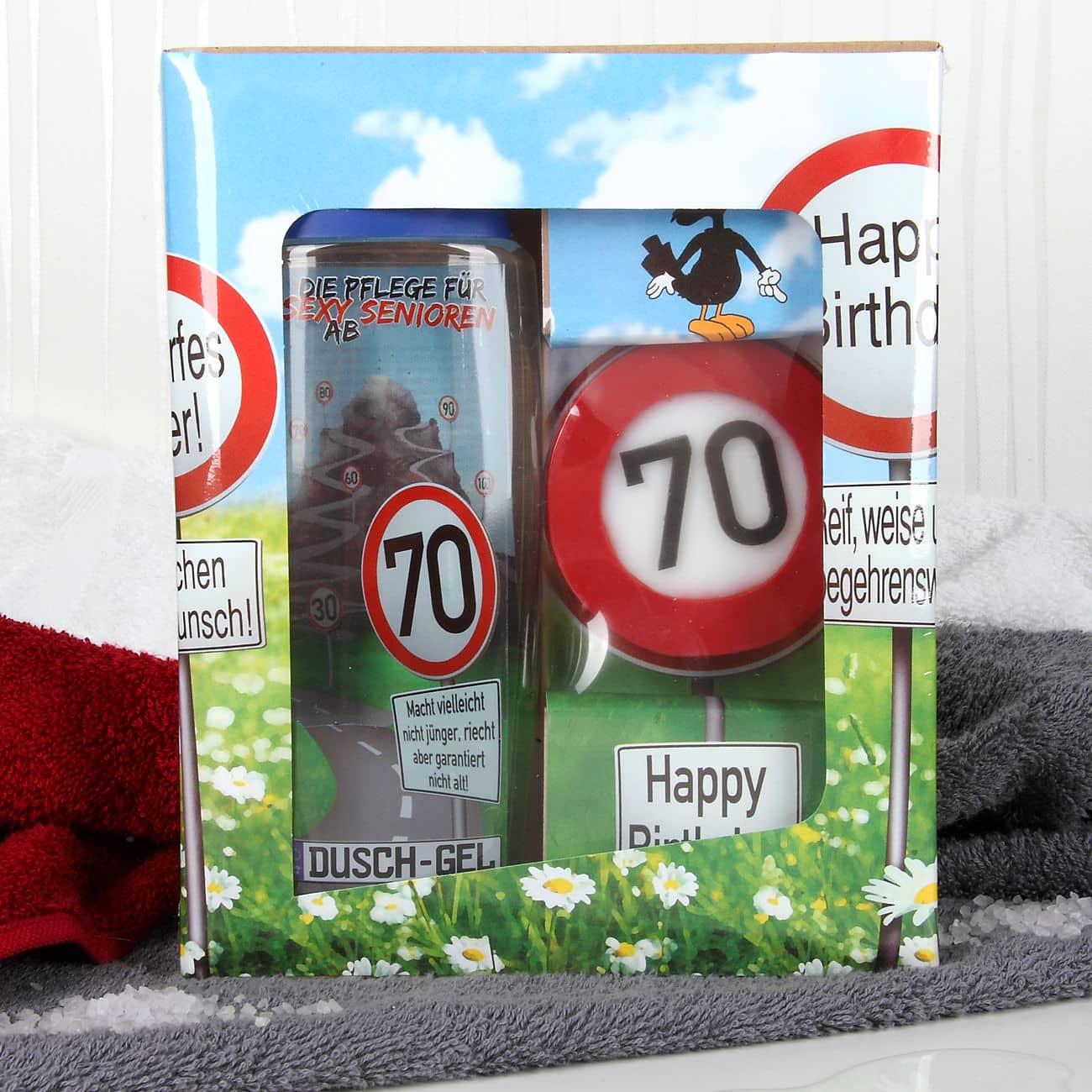 Lustiges geburtstagsgeschenk badset verkehrszeichen zum for Lustige geschenke zum 70 geburtstag
