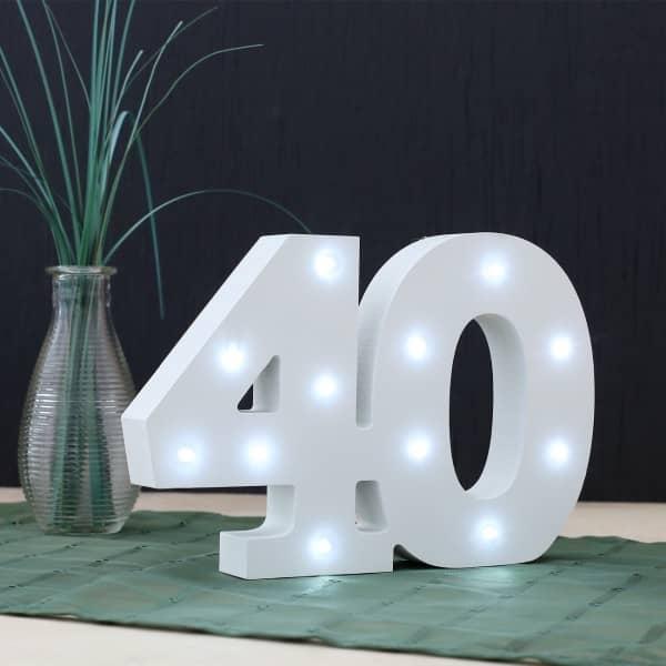 LED Deko-Zahl 40 aus Holz