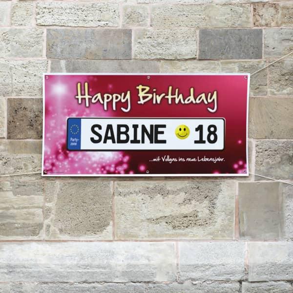 Geburtstagsbanner Nummernschild