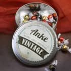 Nicht alt, sondern vintage! - runde Geschenkdose mit Name