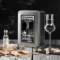 Williamsbirne Schnaps mit graviertem Edelbrandglas in bedruckter Metallbox