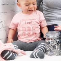 Rosa T-Shirt mit Gebrauchsanweisung für Babys