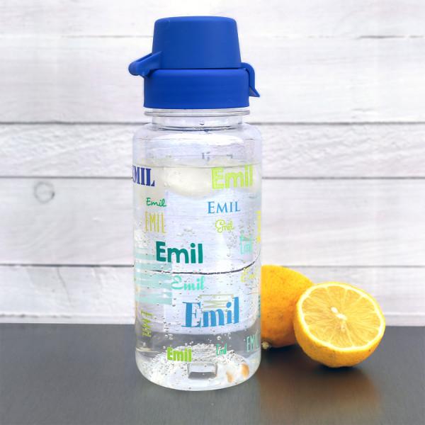Transparente Trinkflasche  mit Name in verschiedenen Schriftarten, 0,4 L