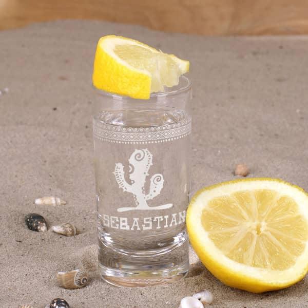 Tequila-Shot graviert mit Kaktus Wunschname und mexikanischen Ornamenten