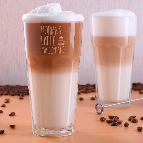 Stabiles Latte Macchiato Glas mit Namensgravur