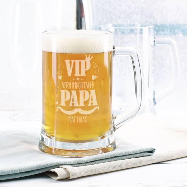 VIP Bierseidel - Very important Papa Bierglas mit Wunschtext zum Vatertag