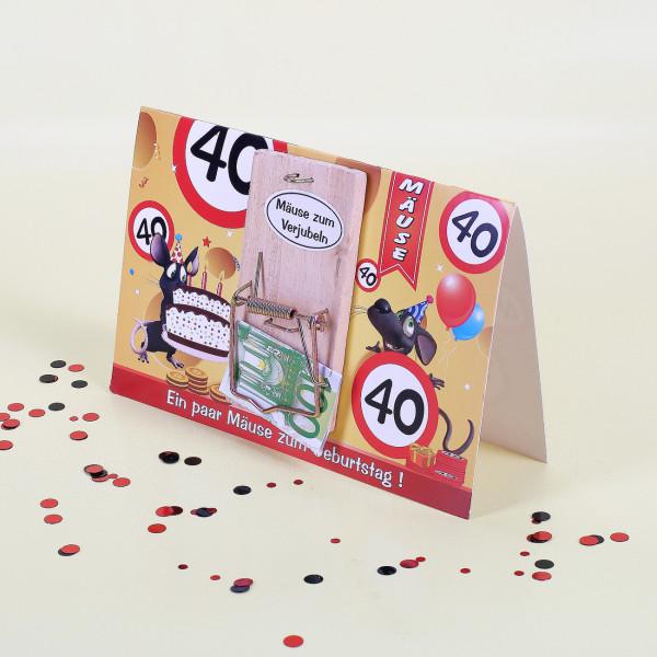 Geburtstagskarte zum 40. mit Mausefalle