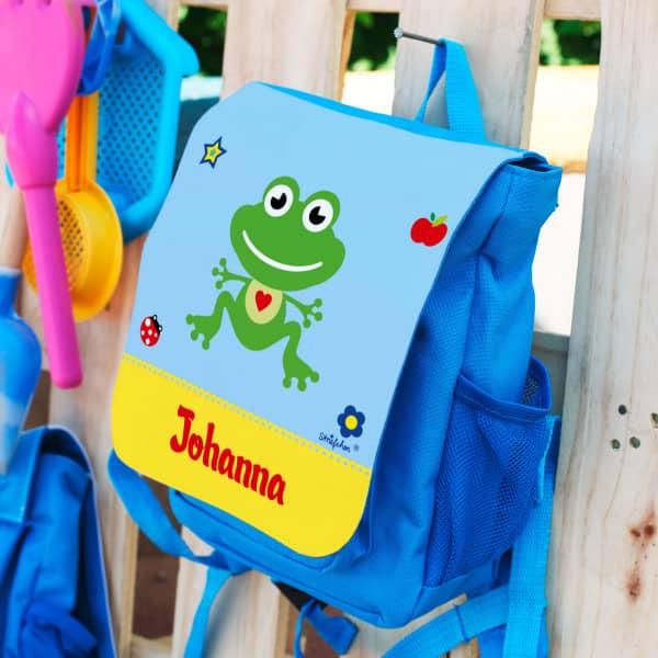 kleiner Rucksack für Kinder mit Frosch und Name bedruckt