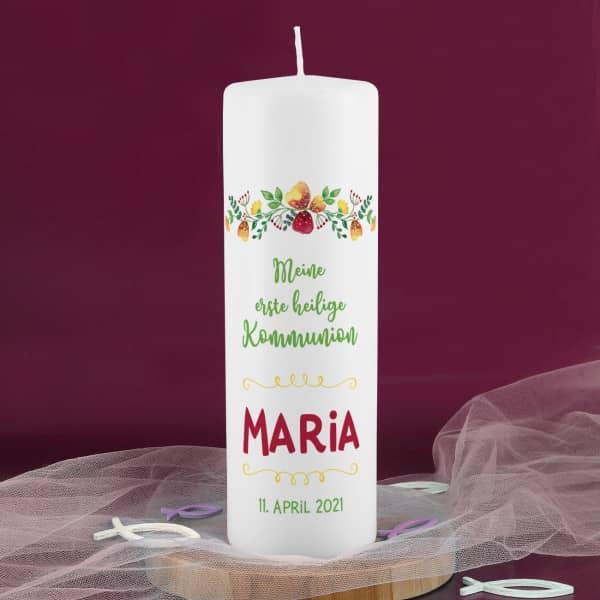 Kerze zur Erstkommunion mit Blumenornament
