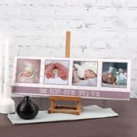 Fotoleinwand 60x20 zur Geburt mit Daten für Mädchen