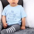 Babyshirt in blau mit Name und lustiger Waschanleitung