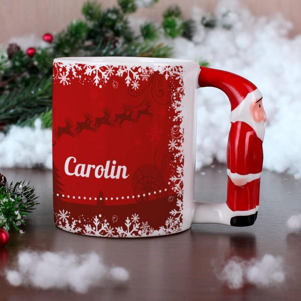 Weihnachtstasse mit Weihnachtsmanngriff und Namen