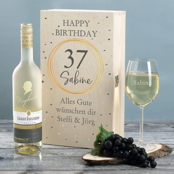 Weißwein Geschenkset zum Geburtstag