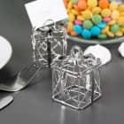 2 kleine silberne Geschenkboxen als Gastgeschenk zur Hochzeit