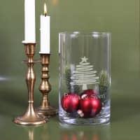 Große Vase mit Weihnachtsbaum-Gravur und Wunschtext