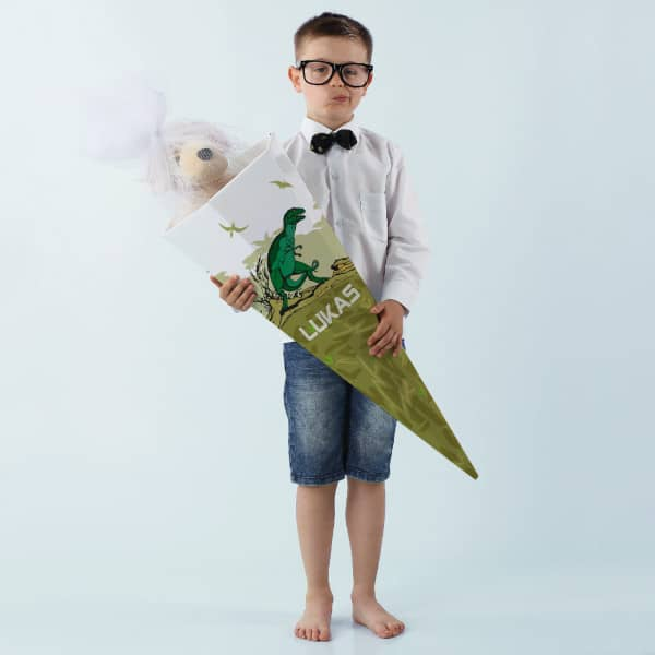 Große Schultüte für Jungen mit Dinosaurier und Name