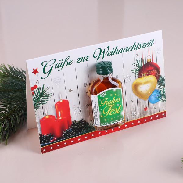 Weihnachtskarte mit Likör Frohes Fest Grün