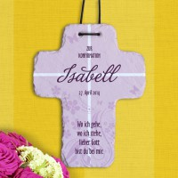 Schönes Schieferkreuz zur Konfirmation mit Name
