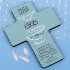 Taufkreuz in hellblau mit Taube und Taufbecken in weiß für Jungen mit Name Datum und Wunschtext