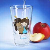 Trinkglas mit Prinzessin und Pferd