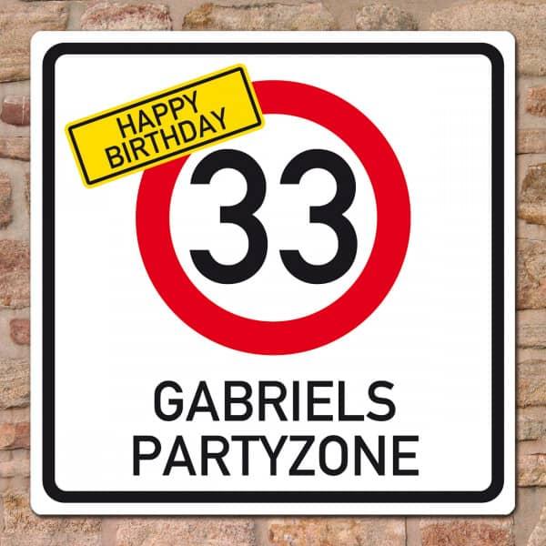 Geburtstagsbanner - Happy Birthday im Verkehrszeichen-Look