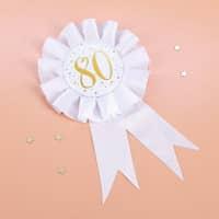 Glückwunsch-Rosette in weiß zum 80. Geburtstag