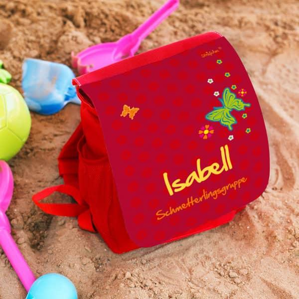 persönlicher Kinderrucksack in rot mit Schmetterlingen und Blüten
