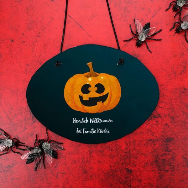 Bedruckte Halloweentafel mit Ihren Wunschtexten